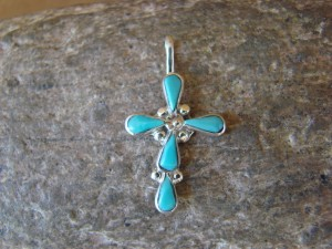 Zuni Indian Jewelry Sterling Silver Turquoise Cross Pendant by Bryce Vacit