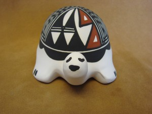 Native American Acoma Indian Pottery Hand Painted Turtle by N. Victorino