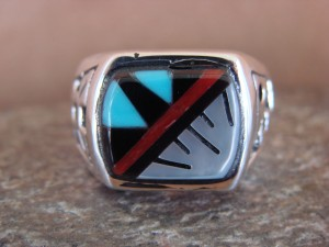 Zuni Indian Sterling Silver Turquoise Inlay Ring Size 11 - Leslie Lamy