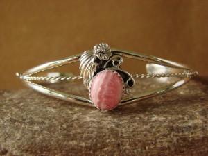 Navajo Indian Jewelry Sterling Silver Rhodochrosite Bracelet by R. Pino