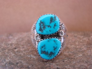 Native American Jewelry Sterling Silver 2 Stone Turquoise  Ring!  Size 9