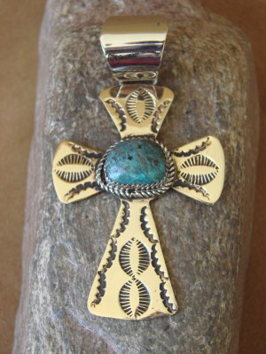 Native American Brass & Turquoise Cross Pendant Jackie Cleveland