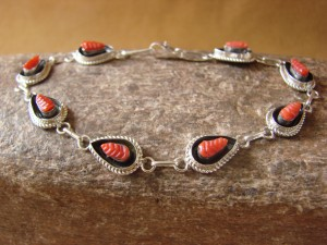 Zuni Indian Jewelry Sterling Silver Coral Link Bracelet! Shirley Walela