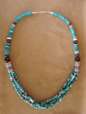 Large Navajo Indian Jewelry Hand Strung Turuqoise Necklace T&R Singer
