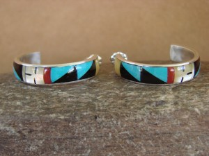 Zuni Indian Jewelry Sterling Silver Inlay Post Hoop Earrings by Delberta Boone
