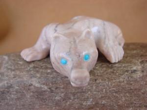 Zuni Indian Hand Carved Alabaster Mountain Lion Fetish - Eustace