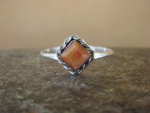 Native American Sterling Silver Square Orange Spiny Oyster Ring - Size 6.0