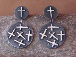 Native American Indian Jewelry Sterling Silver Cross Dangle Earrings by Ernest Rangel