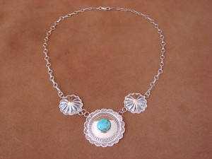 Navajo Indian Sterling Silver Hand Stamped Concho Turquoise Necklace! by H. Joe