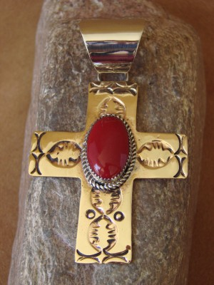 Native American Brass & Coral Cross Pendant Jackie Cleveland