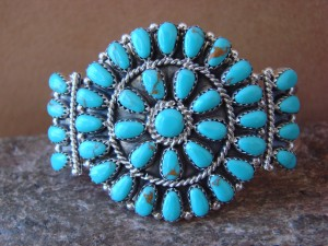 Native American Indian Jewelry Sterling Silver Turquoise Cluster Bracelet