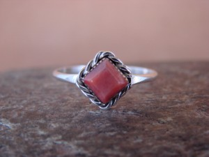 Native American Sterling Silver Square Red Spiny Oyster Ring - Size 6.5