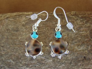 Zuni Indian Sterling Silver Turquoise Shell Turtle Dangle Earrings
