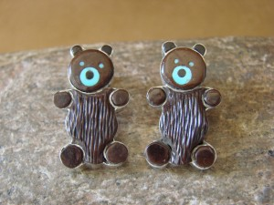 Zuni Indian Jewelry Sterling Silver Coconut Shell and Turquoise Inlay Bear Earrings!