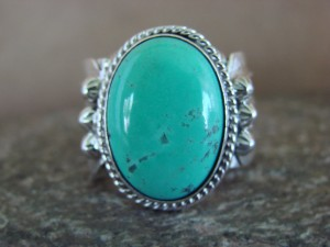 Native American Jewelry Sterling Silver Turquoise Ring! Size 6 1/2 Running Bear