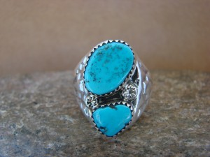 Native American Jewelry Sterling Silver 2 Stone Turquoise  Ring!  Size 9 1/2
