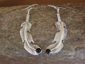 Native American Indian Jewelry Sterling Silver Onyx Feather Earrings - Louise Joe