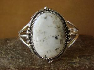 Native American Sterling Silver White Buffalo Turquoise Bracelet by Daniel Benally
