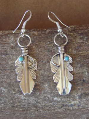 Small Native American Indian Jewelry Stamped Turquosie Sterling Silver Feather Earrings