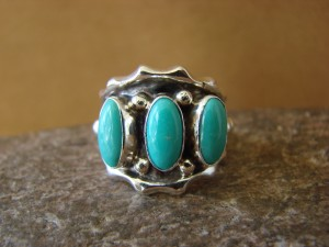 Native American Jewelry Sterling Silver Turquoise Ring! Size 7 Andrew Vanderer