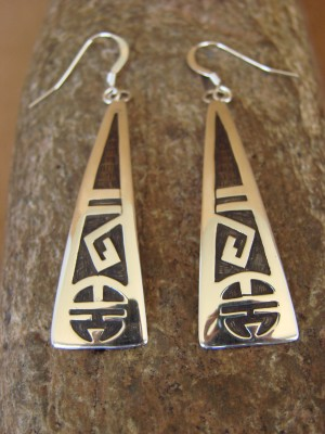 Native American Sterling Silver Hand Stamped Sun Face Earrings by Gene