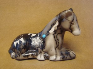 Navajo Indian Pottery Horse Hair Laying Horse Sculpture by Vail! Etched