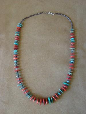 Native American Santo Domingo Coral Turquoise Heishi Necklace - Jeanette Calabaza