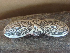 Native American Sterling Silver Hand Stamped Hair Barrette by Manuelito