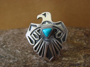 Native American Jewelry Sterling Silver Turquoise Eagle Ring! Size 8 Daniel Benally