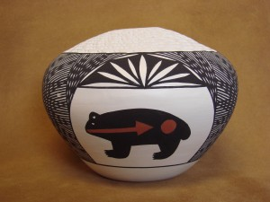 Native American Acoma Indian Hand Painted Seed Pot! by H. Poncho