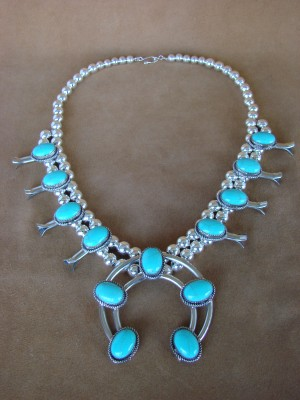 Large Native American Jewelry Turquoise Squash Blossom Necklace by Cleveland