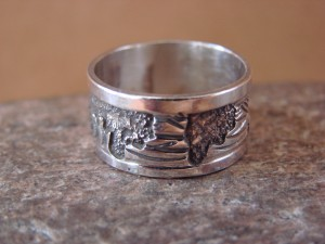 Native American Jewelry Sterling Silver Storyteller Ring - Size 7 1/2 by E. Becenti