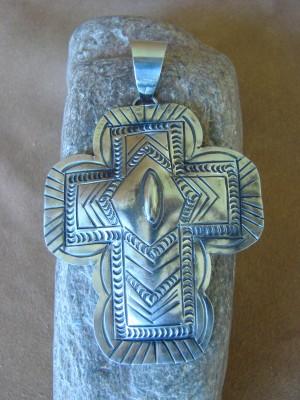 Native American Jewelry Nickle Silver Cross Pendant Carson Blackgoat