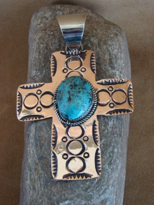 Native American Jewelry Copper Turquoise Pendant by Jackie Cleveland!