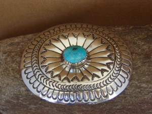 Navajo Indian Jewelry Sterling Silver Turquoise Belt Buckle Carson Blackgoat