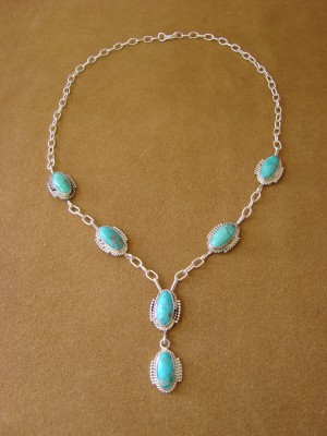 Native American Jewelry Turquoise Sterling Silver Necklace by Jan Mariano