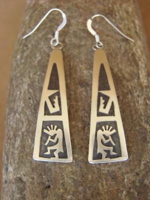 Native American Sterling Silver Hand Stamped Kokopelli Earrings by Gene