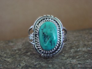 Native American Indian Jewelry Sterling Silver Turquoise Ring, Size 9 S. Yellowhair