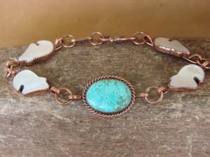 Zuni Indian Jewelry Copper Turquoise Bear Link Bracelet! Running Bear