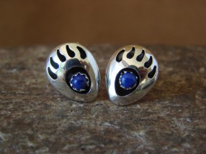 Navajo Indian Jewelry Sterling Silver Lapis Bear Paw Post Earrings!
