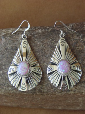 Navajo Indian Sterling Silver Hand Stamped Opal Earrings! by Henry Attakai