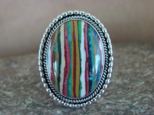 Native American Jewelry Sterling Silver Calsilica Ring!  Size 9
