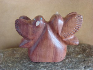 Zuni Indian Hand Carved Cedar Two Hummingbirds Fetish by Brandon Phillips!