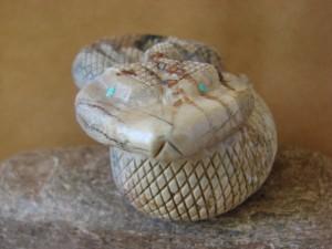 Zuni Indian Hand Carved Marble Rattle Snake Fetish by Paulette Quam!