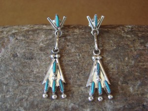 Zuni Indian Sterling Silver Needle Point Turquoise Earrings