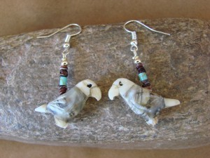 Hand Carved Picasso Marble Parrot Bird Fetish Earrings by Matt Mitchell!