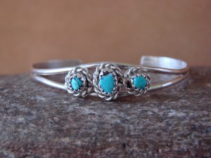 Small Navajo Indian Sterling Silver Turquoise Child's Bracelet by Cadman!