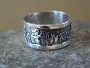 Native American Jewelry Sterling Silver Storyteller Ring - Size 7 1/2  by E. Becenti LC0147