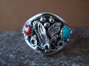 Navajo Indian Sterling Silver Handmade Eagle Ring by Yazzie! Size 13 1/2