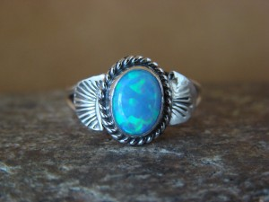 Native American Indian Jewelry Sterling Silver Opal Ring, Size 5 Mariano